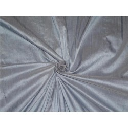 "100% PURE SILK DUPIONI FABRIC DUSTY BLUE X IVORY 54"" WITH SLUBS*"