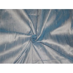 "100% PURE SILK DUPIONI FABRIC DUSTY BLUE IVORY SHOT 54"" WITH SLUBS*"