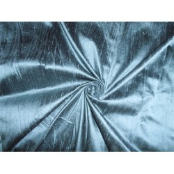 "100% PURE SILK DUPIONI FABRIC SEA GREEN X BLACK 54"" WITH SLUBS"