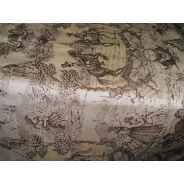 "Silk Dupioni Fabric printed ""olden days-nostalgia"" width 54"""