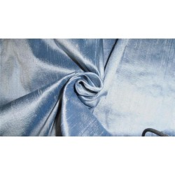 "100% PURE SILK DUPIONI FABRIC BLUE X IVORY 54"" WITH SLUBS"