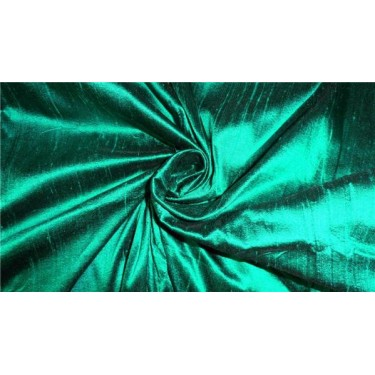 "100% PURE SILK DUPIONI FABRIC BOTTLE GREEN 44"" WITH SLUBS*"