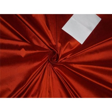 "100% PURE SILK DUPIONI FABRIC BRICK RED COLOR 54"" WITHOUT SLUBS*"