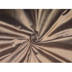 "100% PURE SILK DUPIONI FABRIC BROWN X BLACK 54"" WITH SLUBS*"