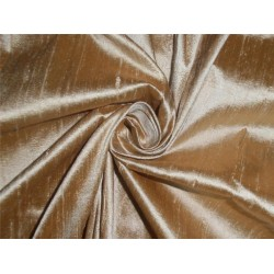 "100% PURE SILK DUPIONI FABRIC BROWN X IVORY 54"" WITH SLUBS"
