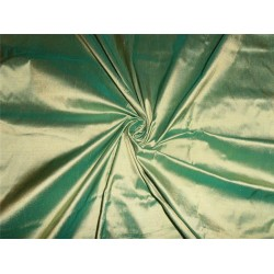 "100% PURE SILK DUPIONI FABRIC SEA GREEN GOLD SHOT 54"" WITHOUT SLUBS*"