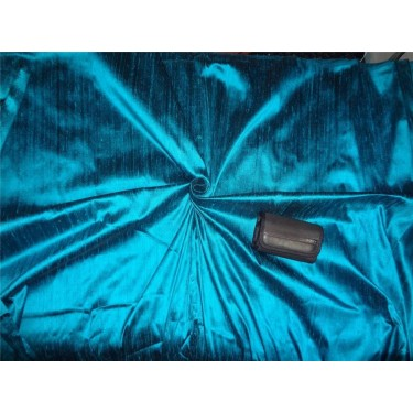 "100% PURE SILK DUPIONI FABRIC DEEP OCEAN BLUE X BLACK 54""WITH SLUBS*"