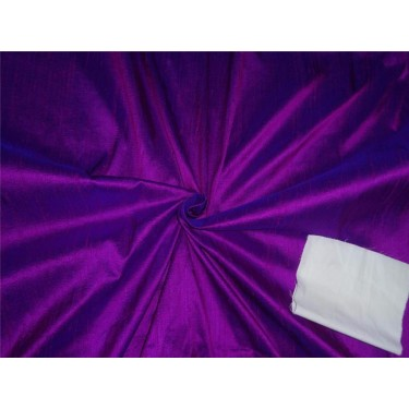 "100% PURE SILK DUPIONI FABRIC DEEP PINK X PURPLE SHOT 54""WITH SLUBS*"