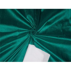 "100% PURE SILK DUPIONI FABRIC DUSTY DARK GREEN 54"" WITH SLUBS*"