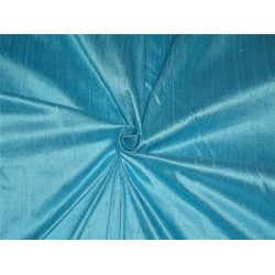 "100% PURE SILK DUPIONI FABRIC DUSTY PASTEL BLUE 54"" WITH SLUBS*"