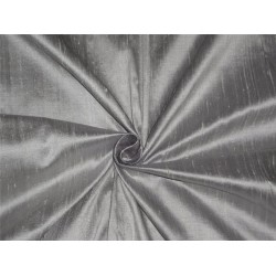 "100% PURE SILK DUPIONI FABRIC ICY GREY X SILVER 54"" WITH SLUBS*"