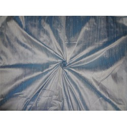 "100% PURE SILK DUPIONI FABRIC INDIGO X IVORY 54""WITH SLUBS*"