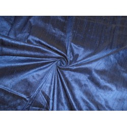 "100% PURE SILK DUPIONI FABRIC NAVY BLUE X BLACK 54"" WITH SLUBS*"