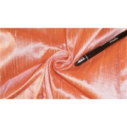 "100% PURE SILK DUPIONI FABRIC PEACH X WHITE 44"" WITH SLUBS*"