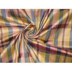 "SILK Dupioni FABRIC Gold,Pink & Blue color plaids  54"" wide sold by the yard"