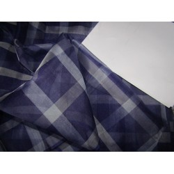 "100% silk organza plaid   fabric 44"" shades of purple  by the yard"