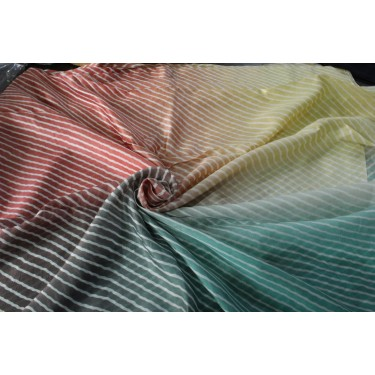"100% silk fabric 14 MM STRIPED BLOCK PRINT fabric 44"" wide GOLDEN BEIGE/MINT/SALMON PINK/GREEN"