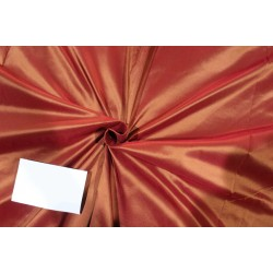 "Silk taffeta fabric iridescent PEACH X GOLD [sandalwood] 54"" 40MM TAF301"