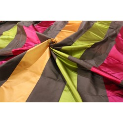 "100% Silk Taffeta  Fabric olive/brown/pink and sandalwood  color satin stripes54"" TAFS159[1] by the yard"