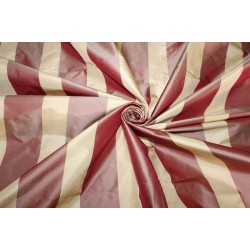 "100%  Silk Taffeta Fabric CHAMPAGNE AND CHERRY Stripes TAFS159[3] 54"" wide sold by the yard"