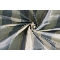 "100% Silk Taffeta Fabric 54"" wide Dark ivory blueish grey  Stripes TAFS159[2]"
