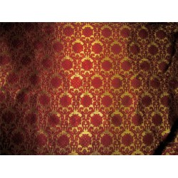 "Brocade Fabric wine x gold color 44"" bro607[5]"
