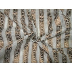 Silk Cotton Chanderi Fabric Natutal ivory x metallic gold 44'' wide sold by the yard
