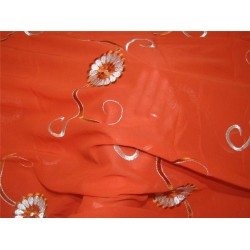 "COTTON VOILE FABRIC~EMBROIDERY-5 YARDS-44""RUSTY ORANGE WIH METALLIC SILVER"