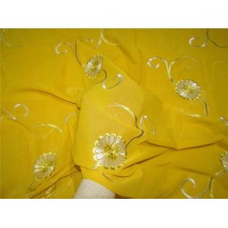 """COTTON VOILE FABRIC~EMBROIDERY-5 YARDS-44""""YELLOW WIH METALLIC SILVER"""