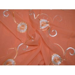 "COTTON VOILE FABRIC~EMBROIDERY-5 YARDS-44""PEACH WIH METALLIC SILVER"