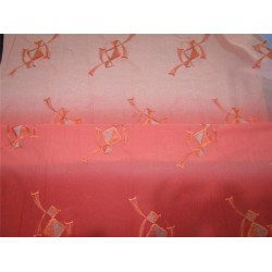"""COTTON VOILE FABRIC~EMBROIDERY-2.28 YARDS-44""""SHADED OF CORAL PINK X METALLIC SILVER"""