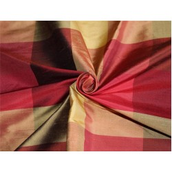 Silk Dupioni Fabric Plaids Shades of burgundy and gold color 54'' wide DUP#C101[3]