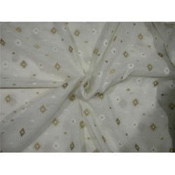 Silk Cotton Chanderi Fabric Natutal ivory x metallic gold 44'' wide