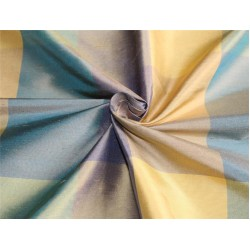 Silk Dupioni Fabric Plaids yellow/blue/cream color 54'' wide DUP#C101[1]