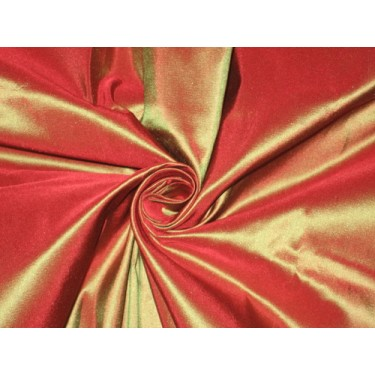 100% Pure SILK TAFFETA FABRIC Rust x Green Shot 2.18 yards continuous piece 54""