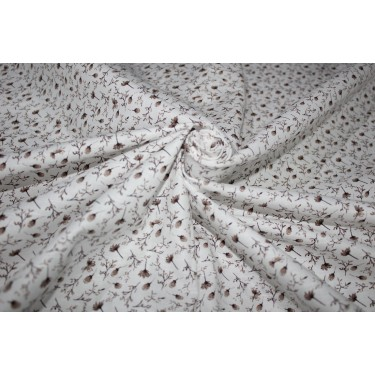 """100% linen fabric 58"""" beautiful IVORY with brown floral print"""