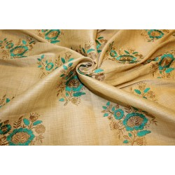 "3.60 yards POLYESTER  DUPIONI  FABRIC 44"" GOLD with embroidered green flowers and metallic gold leaves"