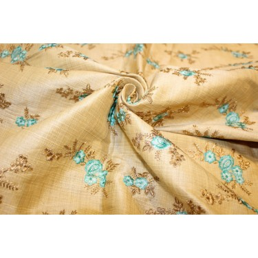 """1.50 yards POLYESTER  DUPIONI  FABRIC 44"""" GOLD with embroidered blue flowers and metallic gold leaves"""