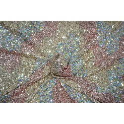 Gold Net Fabric with rainbow color SEQUENCE  Lycra 58'' Wide FF37  5 YARDS