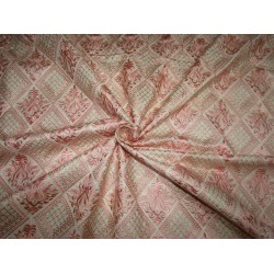 "Silk Brocade Fabric classy baby pink embroidered with a hint of gold to further dress it up   44"" BRO703[4] by the yard"