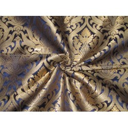 "King Khaab silk Brocade [ a kings dream]  fabric  Navy Blue x metallic gold Color 44""BRO708[4]"