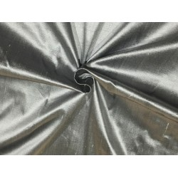 "100% Pure silk dupion silver x black 54"" DUP61 by the yard"