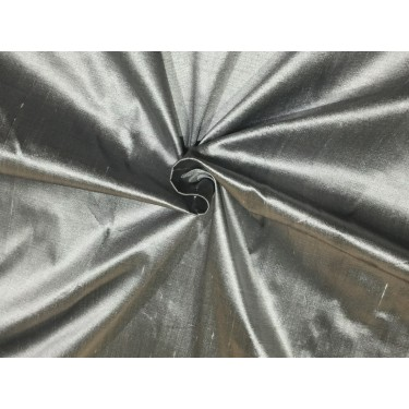 """100% Pure silk dupion silver x black 54"""" DUP61 by the yard"""