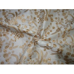 """POLYESTER  raw silk   FABRIC 44"""" ivory   embroidered with pastel gold  floral design FF15"""