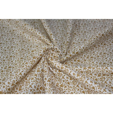 "100% linen fabric 58"" beautiful gold  floral print"