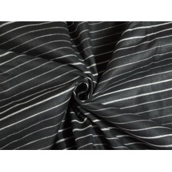 Black linen  fabric with thin white stripes 54""