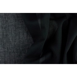 "thin 26 mm Black pure linen fabric 59"" wide"