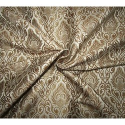 "Brocade jacquard ivory x metallic dull  gold 44"" wide BRO667[1]"