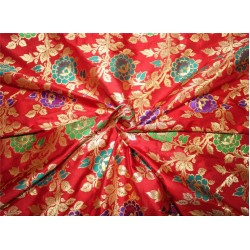 100% silk Brocade fabric red/purple/green/blue x metallic gold 44''wide BRO656[1]