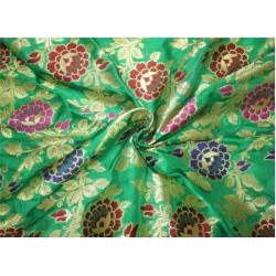100% silk Brocade fabric red/purple/green x metallic gold color 44''wide BRO656[2]